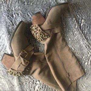 Shoes - Suede embellished heel boots